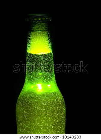 Bottle of beer on a black background