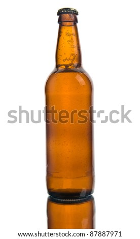 bottle of beer on a white background