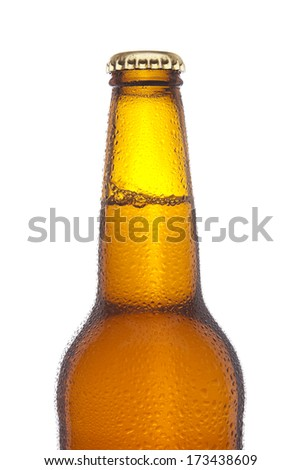 Bottle of beer with droplets - stock photo