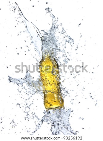 Bottle of beer with water splash, isolated on white background - stock photo