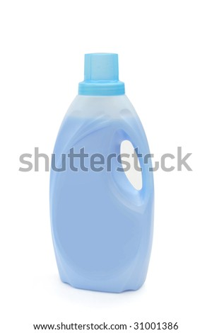 Bottle of blue cleaning detergent on a white background.