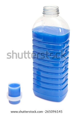 Bottle of blue fabric softener with applying cap over white background - stock photo