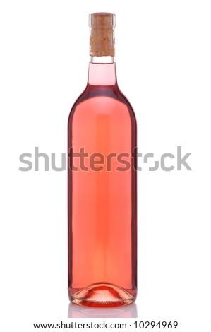 Bottle of Blush or Rose Wine isolated over white background - stock photo