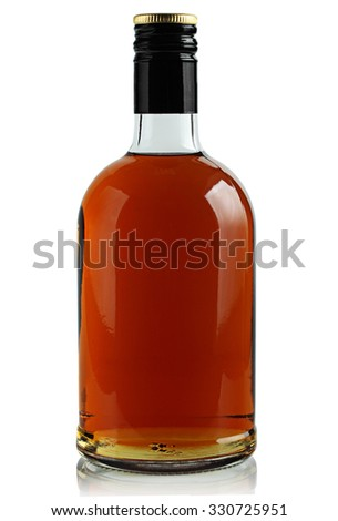 bottle of brandy on a white background - stock photo