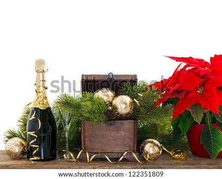 bottle of champagne and two glasses on white  background. festive new years decoration - stock photo