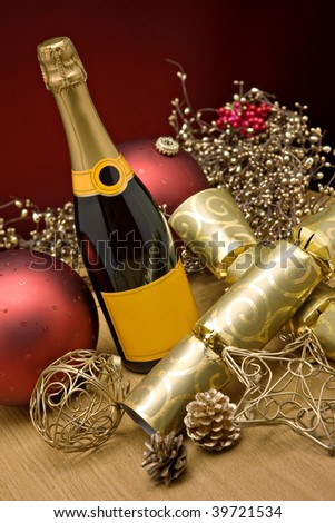 Bottle of Champagne at christmas - stock photo