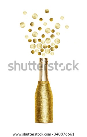 Bottle of Champagne explosion  - stock photo