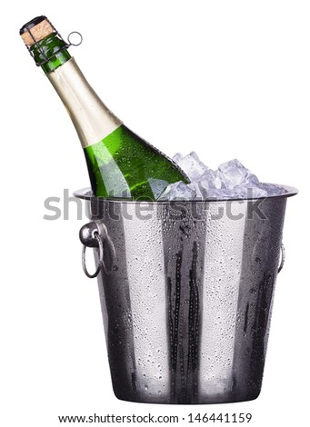 bottle of champagne in Metal ice bucket  isolated on a white background