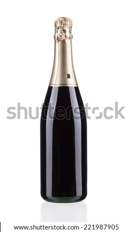 Bottle of champagne. Isolated on a white background.  - stock photo