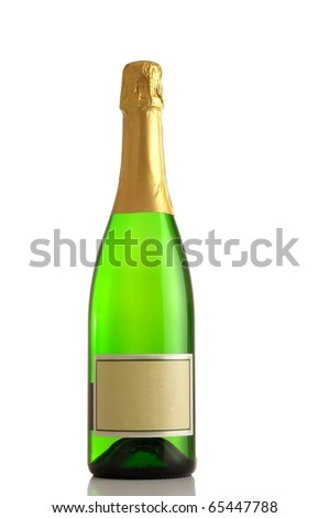 Bottle of champagne isolated over white - stock photo