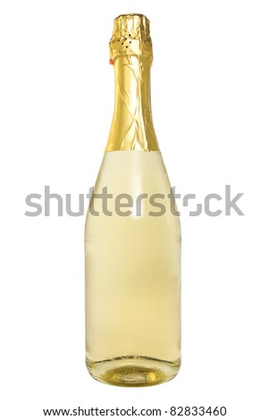 bottle of champagne over a white background. - stock photo