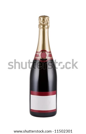 Bottle of Champagne with blank label isolated over white background - stock photo