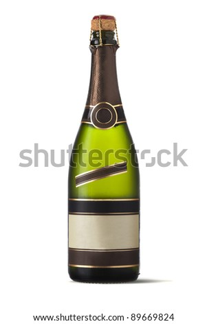 Bottle of champagne with clear labels isolated on white