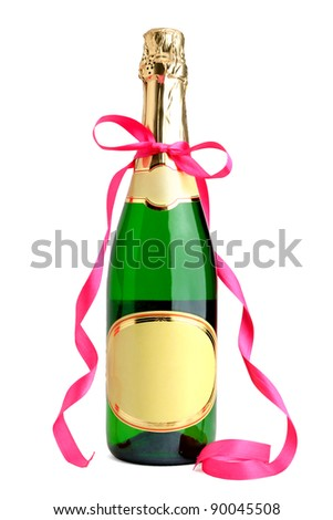 Bottle of champagne with ribbon isolated on white background - stock photo