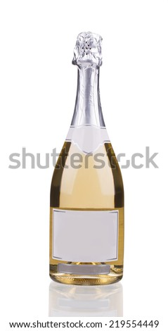 Bottle of champagne with silver top. Close up