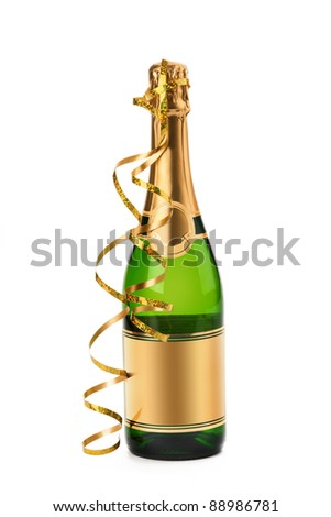 Bottle of champagne with streamer - stock photo