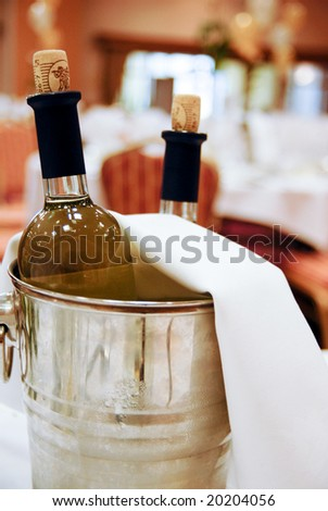 Bottle of chilled wine. - stock photo