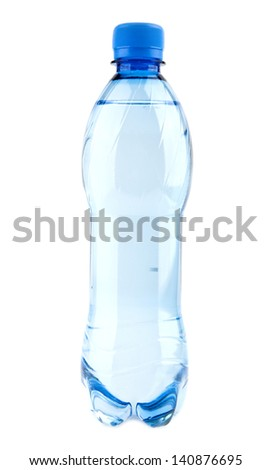 bottle of cool water on a white background