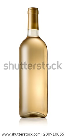 Bottle of dry wine isolated on white - stock photo