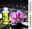 bottle of essential oil and green ivy with orchid - stock photo