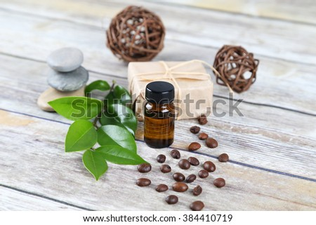 Bottle of essential oil. Aromatherapy. - stock photo