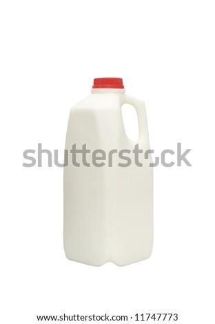 bottle of fresh milk isolated against white background - stock photo