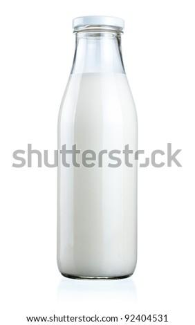 Bottle of fresh milk isolated on a white background - stock photo