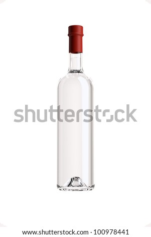 bottle of grappa on a white background,pack shots. - stock photo