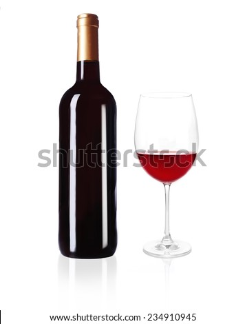 Bottle of great wine and glass isolated on white