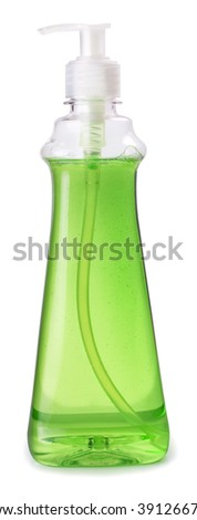 bottle of green dishwashing liquid detergent with batcher isolated on white background - stock photo