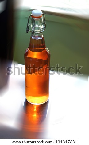 Bottle of Home Brewed Cider - stock photo