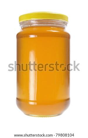 Bottle of Honey on White Background - stock photo