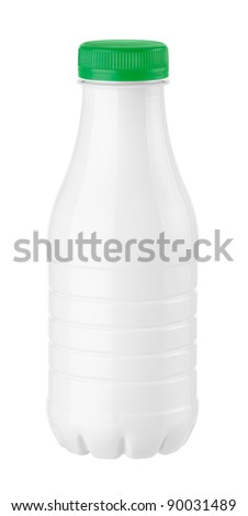bottle of kefir or milk on a white background