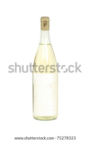 Bottle of Light Colored Wine with a Blank Label Isolated on a White Background