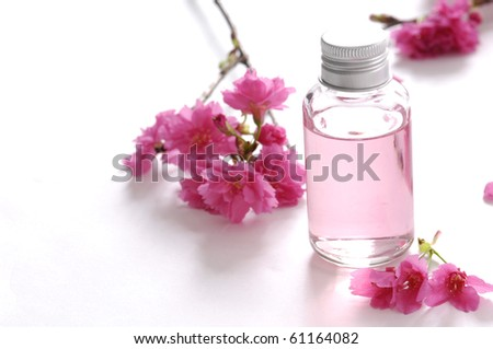 Bottle of massaging oil and pink branch cherry flower - stock photo