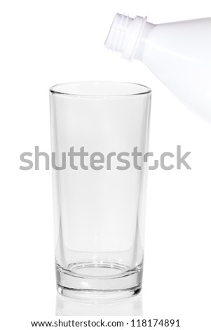 Bottle of milk and empty glass isolated on white background