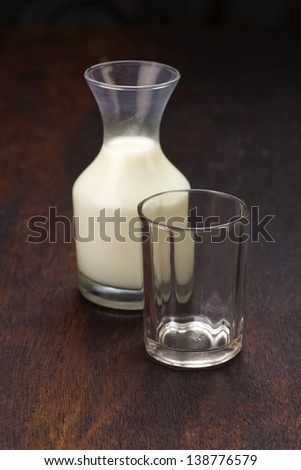bottle of milk with glass on wooden background
