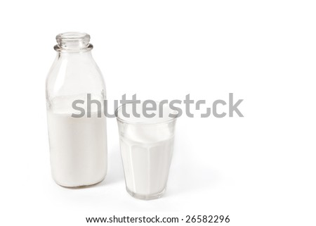 bottle of milk with glass poured