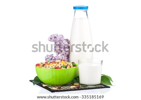 Bottle of milk with tasty cornflakes and branch lilac, isolated on white background  - stock photo