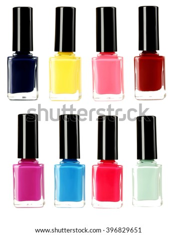 Bottle of nail polish isolated on a white, collage - stock photo