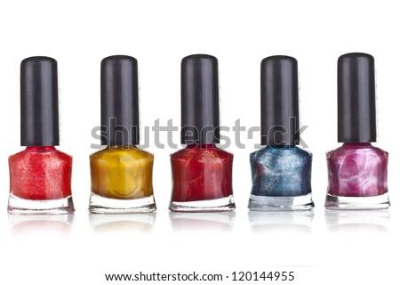 Bottle of nail polish on white background - stock photo