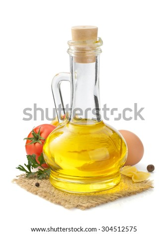 bottle of oil isolated at white background - stock photo