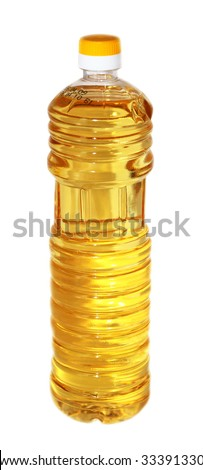 Bottle of oil. The isolated object. A white background.