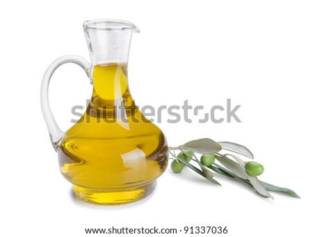 Bottle of olive oil and fresh olive branch with olives isolated on white background - stock photo