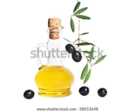 Bottle of olive oil and olive branch isolated on white background