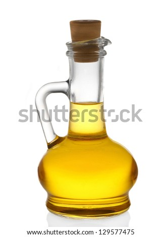 bottle of olive oil isolated on white - stock photo