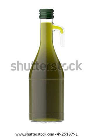 Bottle of olive oil isolated on white background