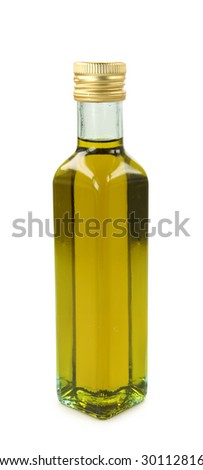 Bottle of olive oil on white background - stock photo