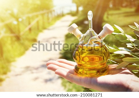 Bottle of olive oil. Sirmione, Italy  - stock photo