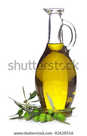bottle of olive oil with branch olives isolated on white background